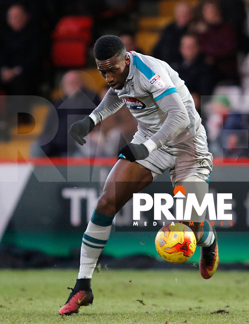 Grimsby's Omar Bogle in action during the Sky Bet League 2 match between Stevenage and Grimsby Town at the Lamex Stadium, Stevenage, England on 28 January 2017. Photo by Carlton Myrie / PRiME Media Images.