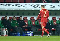 FUSSBALL  DFB-POKAL  ACHTELFINALE  SAISON 2012/2013    FC Augsburg - FC Bayern Muenchen        18.12.2012 Franck Ribery (FC Bayern Muenchen) geht nach der ROTEN KARTE vom Platz