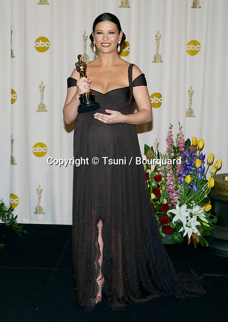 """Catherine Zeta-Jones backstage at the """"75th Annual Oscars 2003"""" at the Kodak Theatre in Los Angeles. March 23, 2003."""