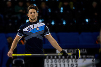 Glasgow. SCOTLAND. Ross PATERSON, watches the run of the delivred &quot;Stone&quot; during the  &quot;Round Robin&quot; Game.  Scotland vs Italy at the Le Gruy&egrave;re European Curling Championships. 2016 Venue, Braehead  Scotland<br /> Wednesday  23/11/2016<br /> <br /> [Mandatory Credit; Peter Spurrier/Intersport-images]
