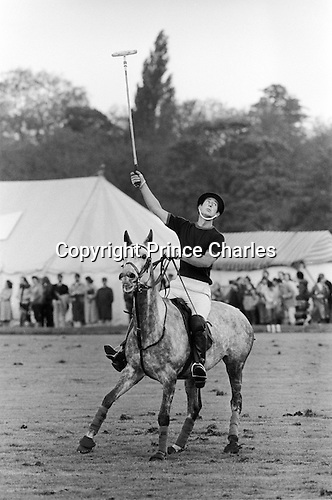 Prince Charles playing Polo at the Ham Polo Club ground, Surrey near London UK 1980s...