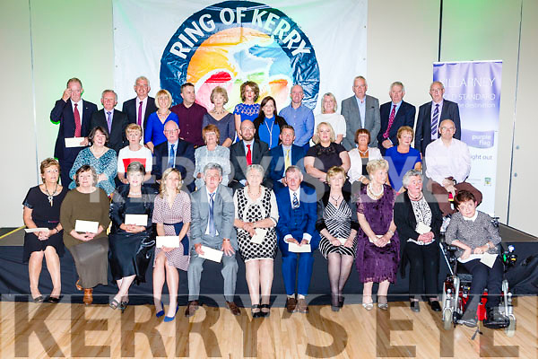 Charity members who collected cheques at the Ring of Kerry cheque presentation in the INEC on Friday night
