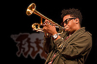 Jazz trumpeter and songwriter Christian Scott performs on the WWOZ Jazz Tent Stage on Day 6 at the New Orleans Jazz and Heritage Festival at the New Orleans Fair Grounds Race Course in New Orleans, Louisiana, USA, 1 May 2010.