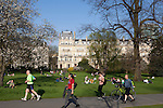 Londoners enjoy a sunny spring day in Regent's Park, London, England