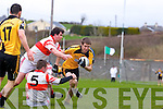 Asdee's Mike Breen breaks and Maurice O'Brien of Charleville last Sunday in the Munster Novice final played in Knockaderry