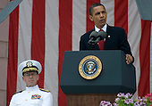 Arlington, VA - May 25, 2009 -- United States President President Barack Obama addresses the audience attending Memorial Day commemorations at Arlington National Cemetery, Arlington, VA, Monday, May 25, 2009.  U.S. Navy Admiral Mike Mullen, chairman of the Joint Chiefs of Staff, looks on from left..Mandatory Credit: Chad J. McNeely - DoD via CNP.........Mandatory Credit: Chad J. McNeely - DoD via CNP