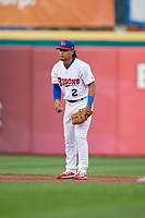 Buffalo Bisons shortstop Santiago Espinal (2) during an International League game against the Rochester Red Wings on August 26, 2019 at Sahlen Field in Buffalo, New York.  Buffalo defeated Rochester 5-4.  (Mike Janes/Four Seam Images)