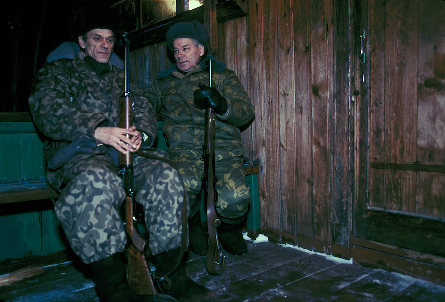 Izhevsk, Siberia, Russia, 10/11/1993.<br /> Weapons inventor Mikhail Kalashnikov [right] with his brother on a hunting trip for deer, moose and elk on his birthday.