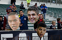 Cary, N.C. - Tuesday March 27, 2018: USA supporters, Bobby Wood, Christian Pulisic, DeAndre Yedlin during an International friendly game between the men's national teams of the United States (USA) and Paraguay (PAR) at Sahlen's Stadium at WakeMed Soccer Park.