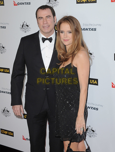 John Travolta & Kelly Preston .The G'Day USA Australia Week 2012 Black Tie Gala at Hollywood & Highland Grand Ballroom in Hollywood, California, USA..January 14th, 2011.half length dress married husband wife tuxedo black white bow tie .CAP/RKE/DVS.©DVS/RockinExposures/Capital Pictures.