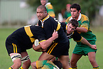 H. Lataimauli & J. Biggelar look to set a maul with team mate J. Chamberlin.  Counties Manukau Premier Club Rugby, Drury vs Bombay played at the Drury Domain, on the 14th of April 2006. Bombay won 34 - 13.