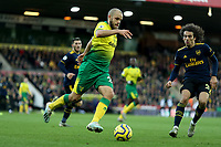1st December 2019; Carrow Road, Norwich, Norfolk, England, English Premier League Football, Norwich versus Arsenal; Teemu Pukki of Norwich City under pressure from Matteo Guendouzi of Arsenal - Strictly Editorial Use Only. No use with unauthorized audio, video, data, fixture lists, club/league logos or 'live' services. Online in-match use limited to 120 images, no video emulation. No use in betting, games or single club/league/player publications