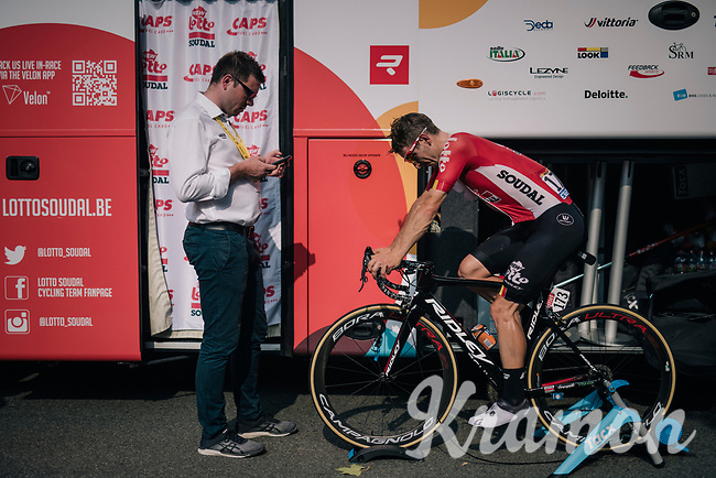 Jasper de Buyst (BEL/Lotto-Soudal) warming down at the teambus after the stage<br /> <br /> Stage 18: Trie-sur-Baïse > Pau (172km)<br /> <br /> 105th Tour de France 2018<br /> ©kramon