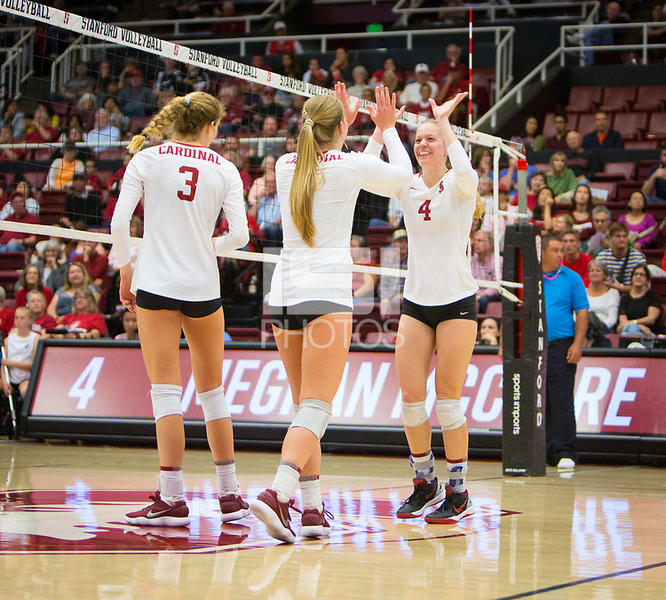 STANFORD, CA - October 12, 2018: Holly Campbell, Jenna Gray, Meghan McClure at Maples Pavilion. No. 2 Stanford Cardinal swept No. 21 Washington State Cougars, 25-15, 30-28, 25-12.