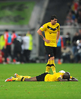 4. November 2011: Duesseldorf, Esprit-Arena: Fussball 2. Bundesliga, 14. Spieltag: Fortuna Duesseldorf - SG Dynamo Dresden: Dresdens Mickael Pote ist nach der Niederlage sauer auf seine Mitspieler und liegt auf dem Rasen, dahinter Pavel Fort.