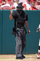 Home plate umpire Mike Jarboe makes a strike call during the game between the North Carolina State Wolfpack and the Army Black Knights at Doak Field at Dail Park on June 3, 2018 in Raleigh, North Carolina. The Wolfpack defeated the Black Knights 11-1. (Brian Westerholt/Four Seam Images)