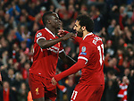 Sadio Mane of Liverpool celebrates with Mohamed Salah of Liverpool during the Champions League Semi Final 1st Leg match at Anfield Stadium, Liverpool. Picture date: 24th April 2018. Picture credit should read: Simon Bellis/Sportimage
