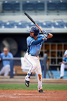 Charlotte Stone Crabs second baseman Peter Maris (3) at bat during a game against the Palm Beach Cardinals on April 12, 2017 at Charlotte Sports Park in Port Charlotte, Florida.  Palm Beach defeated Charlotte 8-7.  (Mike Janes/Four Seam Images)