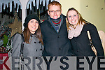Deirdre O'Sulllivan, Richard McEvoy and Marina O'Sullivan from Ventry celebrating the New Year in Dingle.