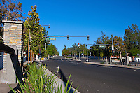 """Looking west on Grand highlighting the parkway treatment of the new Grand and Longview intersection. This was part of the 2015 rebuild of the Grand Avenue and Longview Drive intersection for Diamond Bar's 2015 """"Grand Avenue Beautification"""" project, landscape architecture for the project was by David Volz Design."""