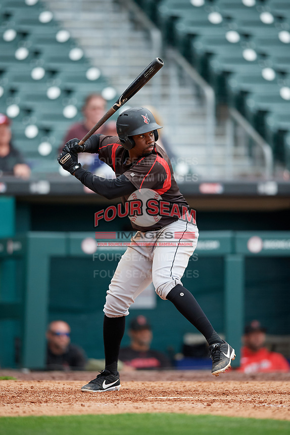Indianapolis Indians Darnell Sweeney (43) at bat during an International League game against the Buffalo Bisons on June 20, 2019 at Sahlen Field in Buffalo, New York.  Buffalo defeated Indianapolis 11-8  (Mike Janes/Four Seam Images)