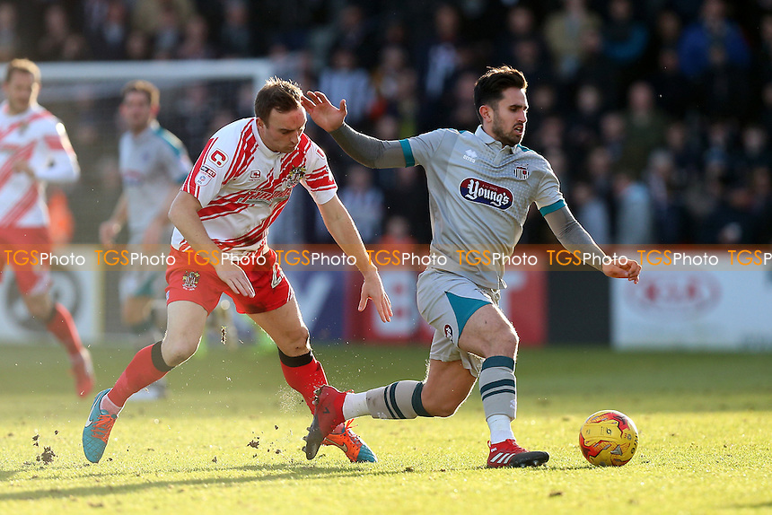 Charlie Lee of Stevenage and Chris Clements of Grimsby Town during Stevenage vs Grimsby Town, Sky Bet EFL League 2 Football at the Lamex Stadium on 28th January 2017