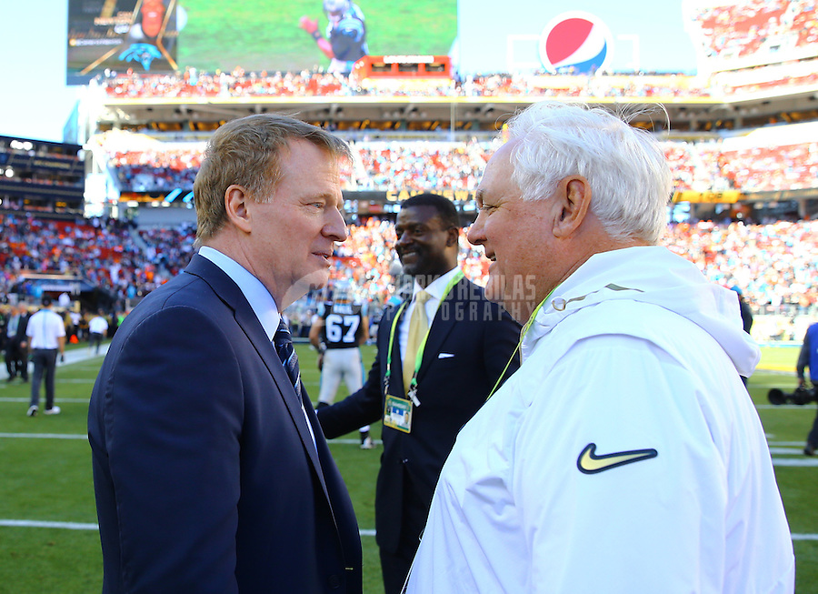 Feb 7, 2016; Santa Clara, CA, USA; NFL commissioner Roger Goodell (left) talks with Denver Broncos defensive coordinator Wade Phillips prior to the game against the Carolina Panthers in Super Bowl 50 at Levi's Stadium. Mandatory Credit: Mark J. Rebilas-USA TODAY Sports