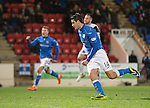 St Johnstone v Inverness Caledonian Thistle...20.12.14   SPFL<br /> Brian Graham celebrates his penalty<br /> Picture by Graeme Hart.<br /> Copyright Perthshire Picture Agency<br /> Tel: 01738 623350  Mobile: 07990 594431