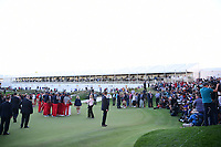Team USA poses for the media after winning the 2017 President's Cup, Liberty National Golf Club, Jersey City, New Jersey, USA. 10/1/2017. <br /> Picture: Golffile | Ken Murray<br /> <br /> All photo usage must carry mandatory copyright credit (&copy; Golffile | Ken Murray)