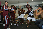 21 November 2010: Colorado's Claudio Lopez (ARG) (left) challenges teammates to spray him with champagne, including Drew Moor (3), in the locker room after the game. The Colorado Rapids defeated FC Dallas 2-1 in overtime at BMO Field in Toronto, Ontario, Canada in MLS Cup 2010, Major League Soccer's championship game.