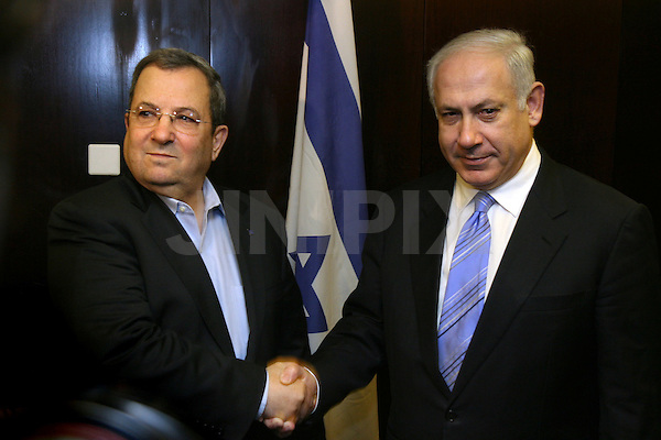 Ehud Barak leader of the Labor party attends a meeting with Likud Party leader Benjamin Netanyahu at the King David hotel in Jerusalem on January 23. 2008...After his meeting Sunday with Kadima Chairwoman Tzipi Livni was said to have been unsuccessful, Prime Minister-designate Benjamin Netanyahu met with Labor Chairman Ehud Barak on Monday morning in a bid to look into possibilities for a wide unity government. Photo By : Emil Salman / JINI