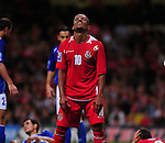 Robert Earnshaw looks up at the sky after missing Simon Davies (Capt) cross. Wales v Azerbaijan.Group 4, 2010 World Cup Qualifier. © Ian Cook IJC Photography iancook@ijcphotography.co.uk www.ijcphotography.co.uk