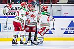 S&ouml;dert&auml;lje 2013-12-12 Ishockey Hockeyallsvenskan S&ouml;dert&auml;lje SK - Mora IK :  <br /> Mora 31 Sonny Karlsson har gjort 1-0 och gratuleras av Mora 40 Jonathan Harty och Mora 11 Christopher Fish <br /> (Foto: Kenta J&ouml;nsson) Nyckelord:  jubel gl&auml;dje lycka glad happy