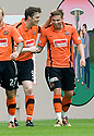 :: DUNDEE UTD'S DAVID GOODWILLIE IS CONGRATULATED BY JON DALY AFTER HE SCORES UNITED'S FIRST :: .15/05/2011   Copyright  Pic : James Stewart.sct_jsp012_dundee_utd_v_hearts .James Stewart Photography 19 Carronlea Drive, Falkirk. FK2 8DN      Vat Reg No. 607 6932 25.Telephone      : +44 (0)1324 570291 .Mobile              : +44 (0)7721 416997.E-mail  :  jim@jspa.co.uk.If you require further information then contact Jim Stewart on any of the numbers above.........