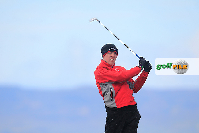 Kevin Le Blanc (The Island) at the 4th tee during Match Play Round 3 of the West of Ireland Amateur Open Championship at the Co. Sligo Golf Club in Rosses Point on Monday 28th March 2016.<br /> Picture:  Golffile / Thos Caffrey