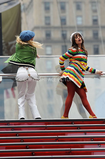 WWW.ACEPIXS.COM . . . . . ....April 25 2011, New York City....Actressess (L-R) Heather Morris and Lea Michele filming an episode of the hit series 'Glee' in Times Square on April 25 2011 in New York City....Please byline: KRISTIN CALLAHAN - ACEPIXS.COM.. . . . . . ..Ace Pictures, Inc:  ..(212) 243-8787 or (646) 679 0430..e-mail: picturedesk@acepixs.com..web: http://www.acepixs.com