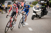 Tosh Van der Sande (BEL/Lotto-Soudal) leading the race<br /> <br /> 59th De Brabantse Pijl - La Flèche Brabançonne 2019 (1.HC)<br /> One day race from Leuven to Overijse (BEL/196km)<br /> <br /> ©kramon