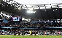Players, officials and fans observe a minute's silence to remember Emiliano Sala<br /> <br /> Photographer Rich Linley/CameraSport<br /> <br /> Emirates FA Cup Fourth Round - Manchester City v Burnley - Saturday 26th January 2019 - The Etihad - Manchester<br />  <br /> World Copyright © 2019 CameraSport. All rights reserved. 43 Linden Ave. Countesthorpe. Leicester. England. LE8 5PG - Tel: +44 (0) 116 277 4147 - admin@camerasport.com - www.camerasport.com