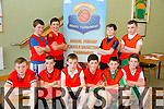 Gael Scoil Mhic Easmainn  Front L-R Leon Gallagher, Daniel Bourke, Thomás Hanafin, Tom Breannach, Jack De Bourke , Jimmy O Suileabhain .Back L-R Thomas O Leala, Jack O Dougán Daithi O Regán agus Finán o Chonnochuir at the CBS Primary Hoops Tournament at John Mitchels Sports Hall on Friday