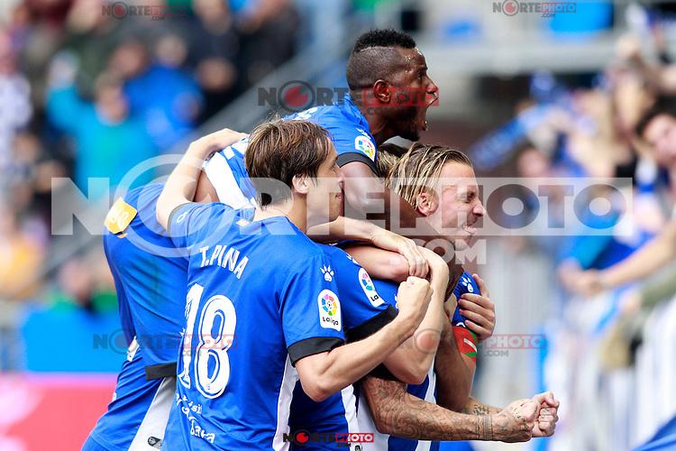 Deportivo Alaves' players celebrate goal during La Liga match. October 28,2017. (ALTERPHOTOS/Acero) /NortePhoto.com
