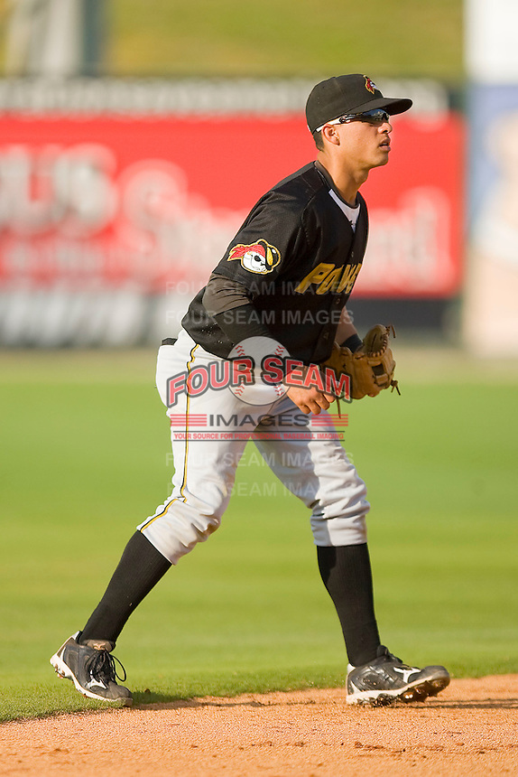 Shortstop Bengie Gonzalez #12 of the West Virginia Power on defense against the Kannapolis Intimidators at Fieldcrest Cannon Stadium April 25, 2010, in Kannapolis, North Carolina.  Photo by Brian Westerholt / Four Seam Images
