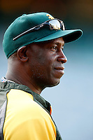 Oakland Athletics hitting coach Chili Davis #30 before a game against the Los Angeles Angels at Angel Stadium on September 10, 2012 in Anaheim, California. Oakland defeated Los Angeles 3-1. (Larry Goren/Four Seam Images)