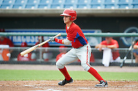 Pedro Perez Jr #1 of Burlington City High School in Burlington City, New Jersey playing for the Philadelphia Phillies scout team during the East Coast Pro Showcase at Alliance Bank Stadium on August 1, 2012 in Syracuse, New York.  (Mike Janes/Four Seam Images)