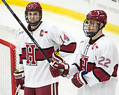 Alexander Kerfoot (Harvard - 14), Devin Tringale (Harvard - 22) - The Harvard University Crimson defeated the St. Lawrence University Saints 6-3 (EN) to clinch the ECAC playoffs first seed and a share in the regular season championship on senior night, Saturday, February 25, 2017, at Bright-Landry Hockey Center in Boston, Massachusetts.