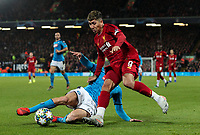 Liverpool's Roberto Firmino is tackled by Napoli's Konstantinos Manolas <br /> <br /> Photographer Alex Dodd/CameraSport<br /> <br /> UEFA Champions League Group E - Liverpool v Napoli - Wednesday 27th November 2019 - Anfield - Liverpool<br />  <br /> World Copyright © 2018 CameraSport. All rights reserved. 43 Linden Ave. Countesthorpe. Leicester. England. LE8 5PG - Tel: +44 (0) 116 277 4147 - admin@camerasport.com - www.camerasport.com