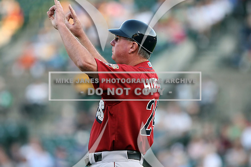July 1st 2008:  Manager Dave Huppert of the Lehigh Valley IronPigs, Class-AAA affiliate of the Philadelphia Phillies, during a game at Frontier Field in Rochester, NY.  Photo by:  Mike Janes/Four Seam Images