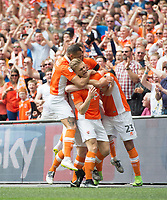 Blackpool players celebrating Blackpool's Brad Potts goal during the Sky Bet League 2 PLAY OFF FINAL match between Exeter City and Blackpool at Wembley Stadium, London, England on 28 May 2017. Photo by Andrew Aleksiejczuk.