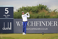 Andrea Pavan (ITA) on the 5th tee during Round 2 of the Alfred Dunhill Links Championship 2019 at Kingbarns Golf CLub, Fife, Scotland. 27/09/2019.<br /> Picture Thos Caffrey / Golffile.ie<br /> <br /> All photo usage must carry mandatory copyright credit (© Golffile | Thos Caffrey)