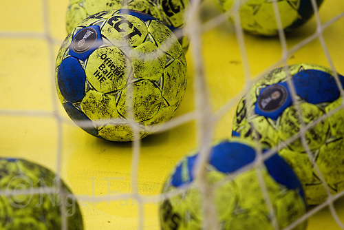 11 JUN 2010 - LONDON, GBR -  Balls in the net during a warmup session at the 2012 European Handball Championships Qualification Tournament (PHOTO (C) NIGEL FARROW)