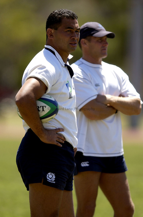 Photo: Richard Lane..Scotland training at Queensland University, Brisbane. RWC 2003. 05/11/2003..Pat Lam watches over proceedings.